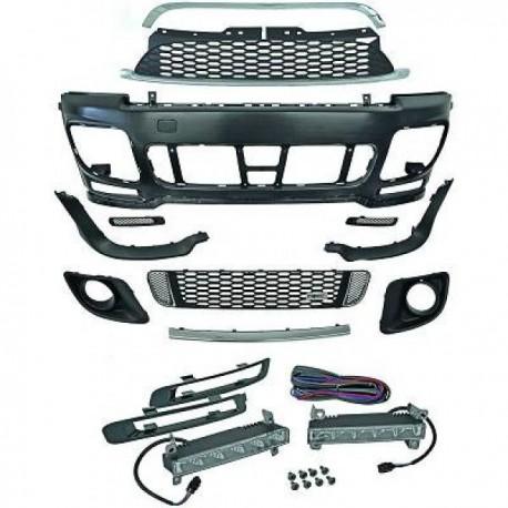 TUNING paraurti anteriore MINI R55 R56 R57 06-10 look Sport JCW per 3 porte Cabrio Clubman no Cooper S con griglie