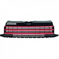 Calandra griglia radiatore anteriore TUNING VW T6 TRANSPORTER CARAVELLE MULTIVAN 15-19 nera profilo rosso GTI 3 listelli senza logo