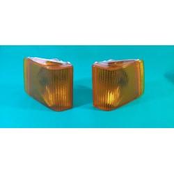 FIAT 242 coppia frecce anteriori dx sx arancio con portalampada Aric made in Italy 11.857.000 11.858.000
