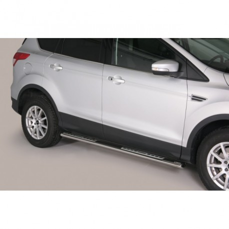 Coppia set pedane protezione sottoporta laterali TUNING SUV FORD KUGA 2013 2014 2015 2016 2017 acciaio INOX modello Design ovale