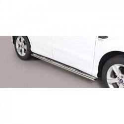 Coppia set pedane protezione sottoporta laterali TUNING SUV FORD KUGA 2017 2018 2019 2020 acciaio INOX modello Design ovale anche nero opaco