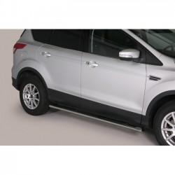 Coppia set pedane sottoporta laterali OMOLOGATE TUNING SUV FORD KUGA 2013 2014 2015 2016 2017 acciaio INOX modello Grand ovali anche nero opaco