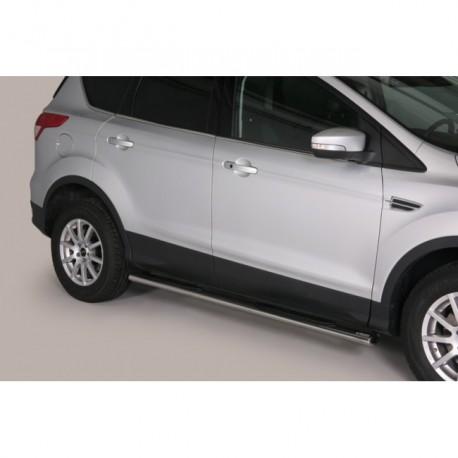 Coppia set pedane sottoporta laterali OMOLOGATE TUNING SUV FORD KUGA 2013 2014 2015 2016 2017 acciaio INOX modello Grand ovali a