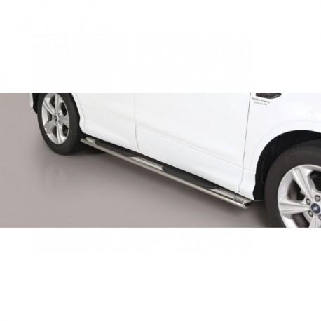 Coppia set pedane sottoporta laterali OMOLOGATE TUNING SUV FORD KUGA 2017 2018 2019 2020 acciaio INOX modello Grand ovali anche