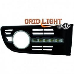 Set griglie con luci DIURNE TUNING VW POLO 9N 2001-2005 a LED, cromate omologate R87