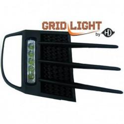 Set griglie con luci DIURNE TUNING VW GOLF VI 2008-2012, per vetture con fendinebbia, luci DIURNE DRL LED omologate R87 cromate