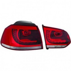 Set fari fanali posteriori TUNING VW GOLF VI 2008-2012 berlina, stile GTi LED rosso cromato