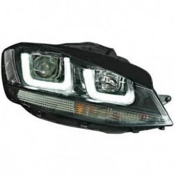 Set fari fanali proiettori anteriori TUNING sportivi VW GOLF VII 2012-2017 berlina e Variant, neri con luce diurna 3D LED, profilo nero