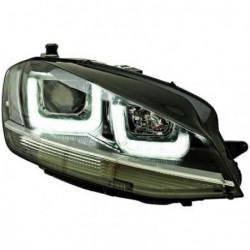 Set fari fanali proiettori anteriori TUNING sportivi VW GOLF VII, 2012- berlina e Variant, neri con luce diurna 3D LED, profilo cromato look GTD