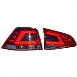 Set fari fanali posteriori TUNING sportivi VW GOLF VII, 2012- berlina, LED rosso cromato LIGHTBAR